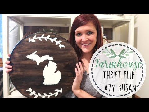 DIY Repurpose Cutting Board | Farmhouse Style Lazy Susan | Garage Sale Flip | Thrift Flip Decor |