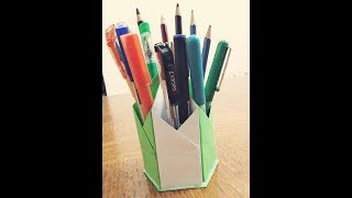 How to make a paper hexagonal pen and pencil holder ll Paper craft