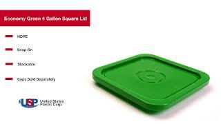 Economy Green 4 Gallon Square Lid  | U.S. Plastic Corporation®