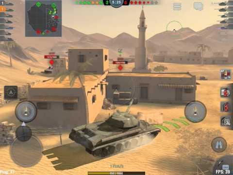 World of tanks blitz (français) premier essais sur ipad air (Sables du désert) tiers 9 IS-8