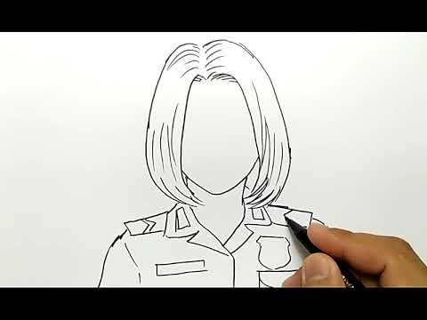 Cantik Banget Cara Menggambar Polisi Wanita Youtube