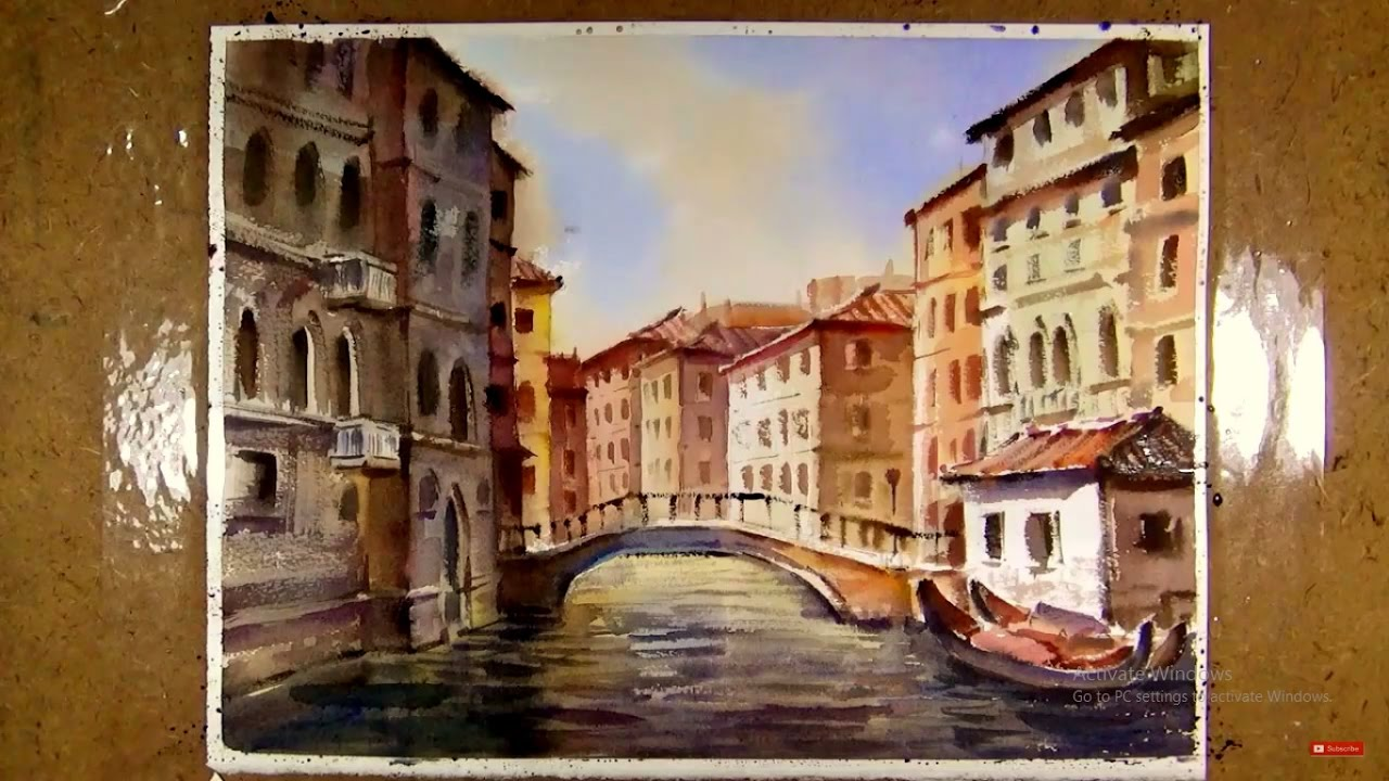Watercolor painting venice river street youtube for Venice craft fair 2017