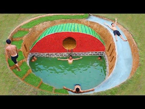 How To Build Underground Swimming Pool Water Slide Around Secret Underground Watermelon House