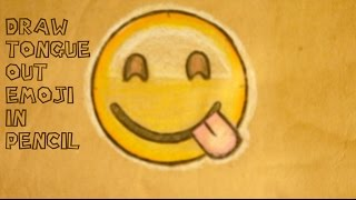 How to Draw Smiling Emoji Face Tongue Out Colored Pencil Easy Step by Step