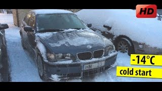 BMW 320d e46 cold start -14°C with a broken glow plugs