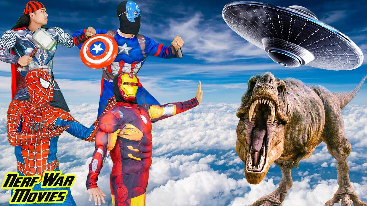 Nerf War Movies: Spiderman X Warriors Nerf Guns Fight Criminal Group Defeat Jurassic monster & Alien