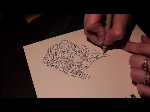 Free Flow & Free Style Drawing + Tribal Inspired Design ~ ASMR Whisper