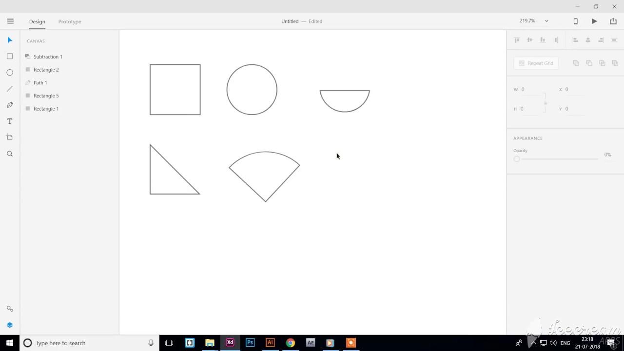 Basics Shape -Adobe XD (Triangle, Circle, Half circle)