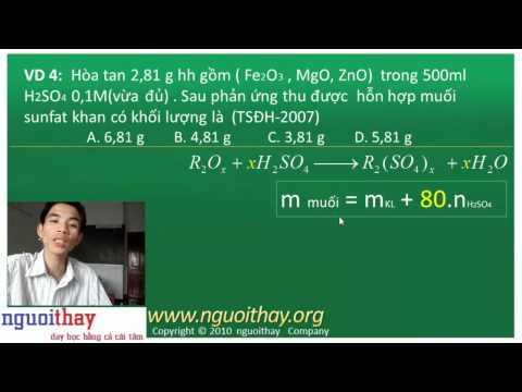 Các công thức giải nhanh và ví dụ trong hóa vô cơ (phần 3)