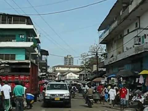 Road Movie: driving in sunny downtown Monrovia, Liberia