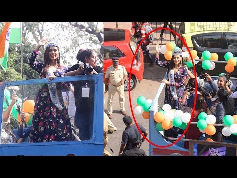 Miss World 2017 Manushi Chhillar's Grand Welcome On Mumbai Streets