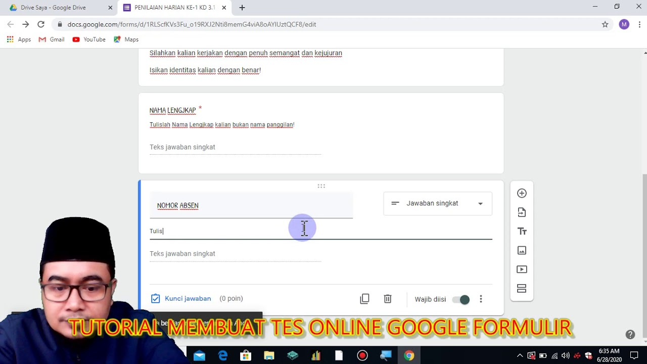 CARA MEMBUAT KUIS ONLINE DENGAN GOOGLE FORMULIR - YouTube