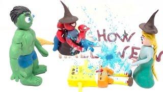 Elsa is Magician Spiderman Hulk Halloween Pranks Superhero Frozen Play-Doh Stop Motion