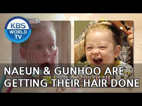 Naeun and Gunhoo are getting their hair done!! [The Return of Superman/2018.10.07]