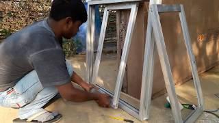 Making aluminium slaiding windows with mosqito net मच्छर की जाली एल्यूमीनियम खिड़की