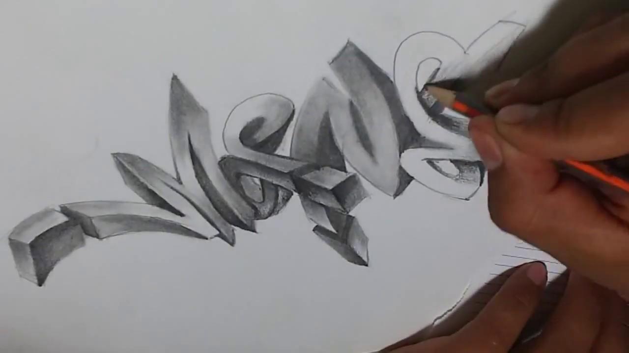 como hacer graffiti 3d a lápiz how to make graffiti 3d to pencil