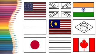 How to Draw & Colour Book Page for Kids  - 11 Nation Flags