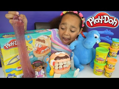 Thumbnail: Play Doh Doc McStuffins Dentist Drill N Fill - Gross Surprise Glitter Putty Slime Eggs