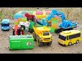 Spiderman rescue Dump Truck Excavator & Tayo Bus Car Toy for Kids | Garbage Truck Toys for Children