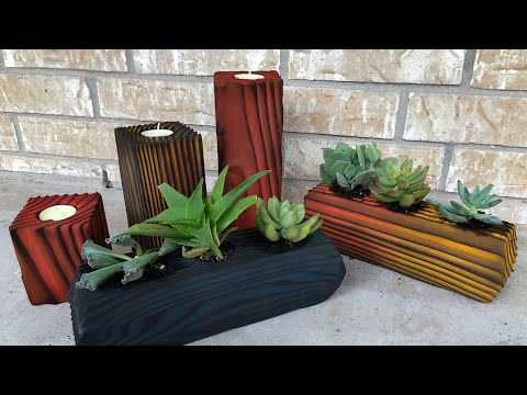 Building DIY Gifts from a 4X4 - Gifts on the Cheap - Shou Sugi Ban Candlesticks and Planters
