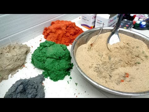 DIY Giant Kinetic Sand 4 Color Orange, White, Purple, Green !!REAL!!! Very Very Easy
