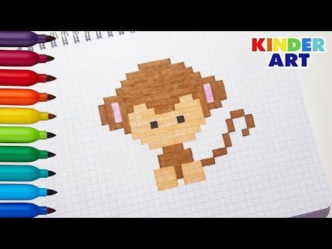 Обезьяна - Рисунки по клеточкам | Monkey - Pixel Art