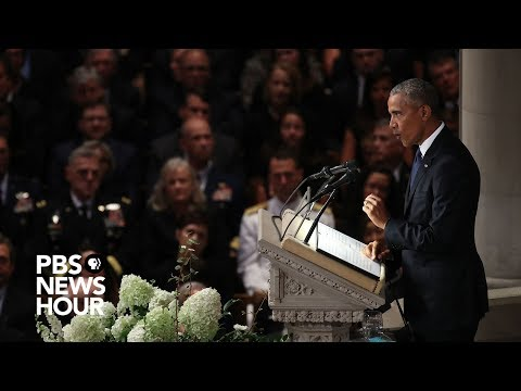 Watch President Barack Obamas full tribute to John McCain at National Cathedral