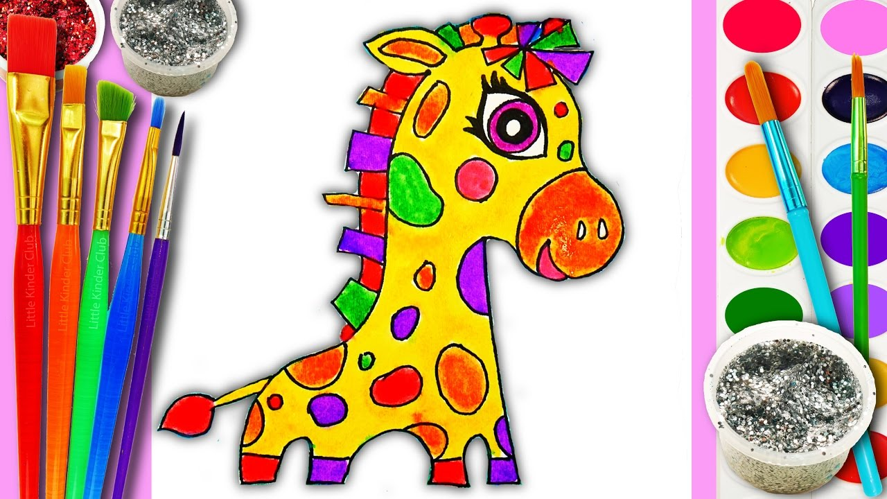 cute baby animals coloring page giraffe for kids to learn to draw