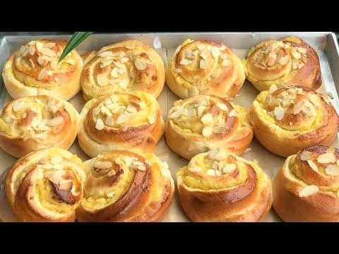 Easy Custard Bread Roll Recipe/Soft&Fluffy/ ขนมปังคัสตาร์ดโรล เนื้อนุ่มไม่ทำง่ายๆ /Mileyhomemade