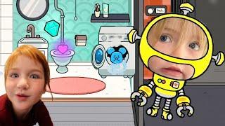 ROBOT NiKO Flushes my Diamond ??!  Adley App Reviews  Toca Life World play town &amp neighborhood