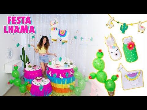 DIY MINHA FESTA DE ANIVERSÁRIO LHAMA & CACTUS | bolsa, pinhata, mesa cilindro e +