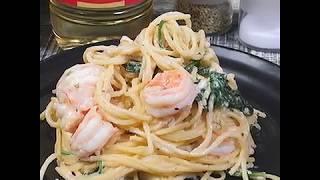 Паста с креветками в сливочном соусе | Рецепт спагетти с тигровыми креветками