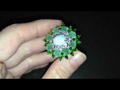 Серебряный перстень Опал — Изумруд — Диопсид — Танзанит