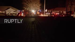 USA  Rescue vehicles gather in Oak Grove, Missouri, after two tornadoes hit town