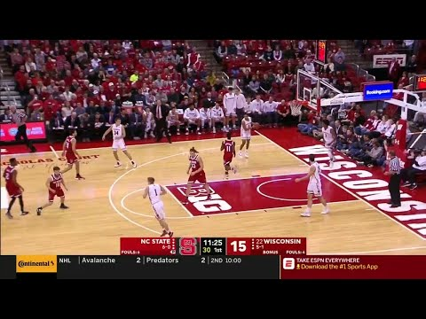First Half Highlights:  NC State at Wisconsin | Big Ten Basketball