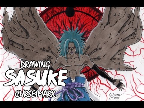 Drawing Sasuke Uchiha Curse Mark Lvl 2 サスケ呪いマーク Naruto ...