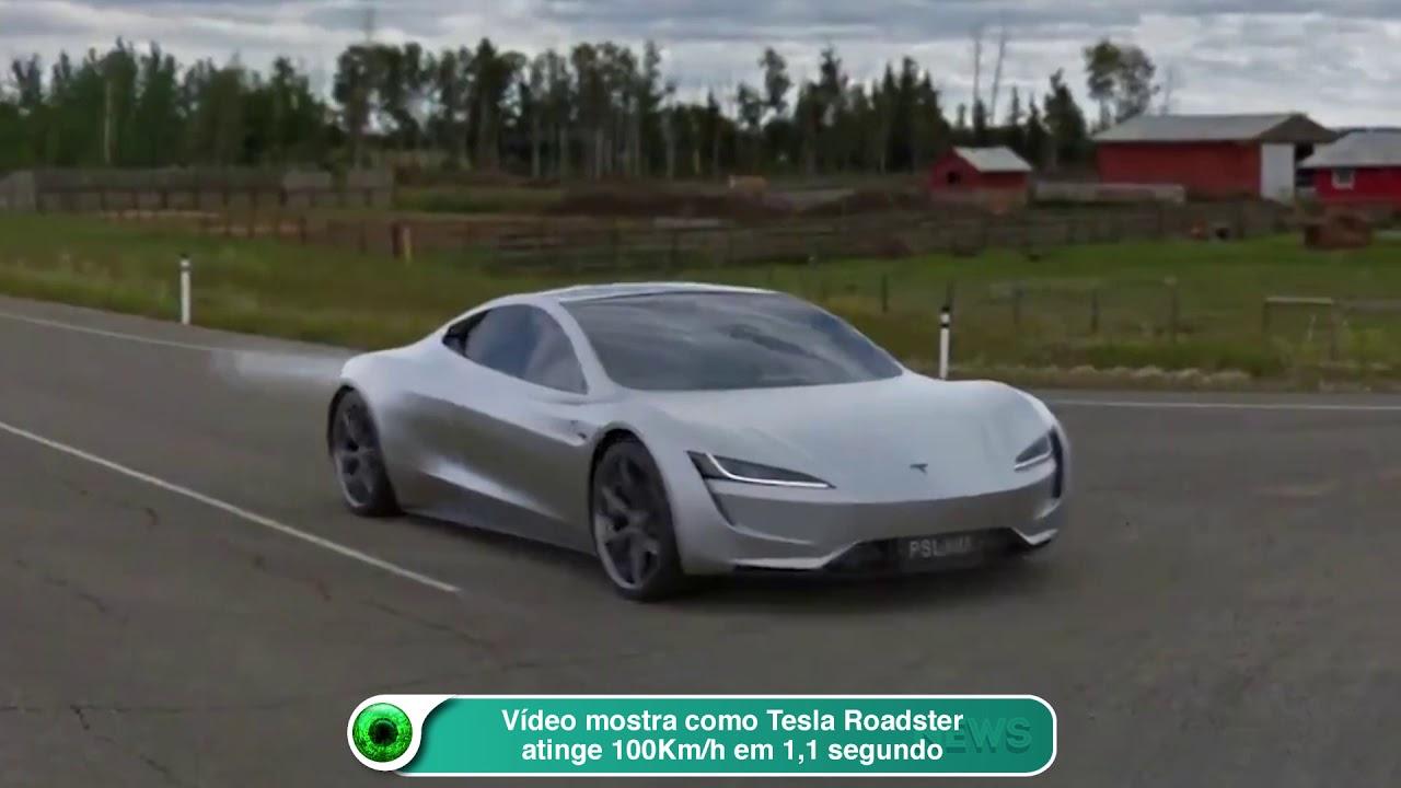Vídeo mostra como Tesla Roadster atinge 100Km-h em 1,1 segundo