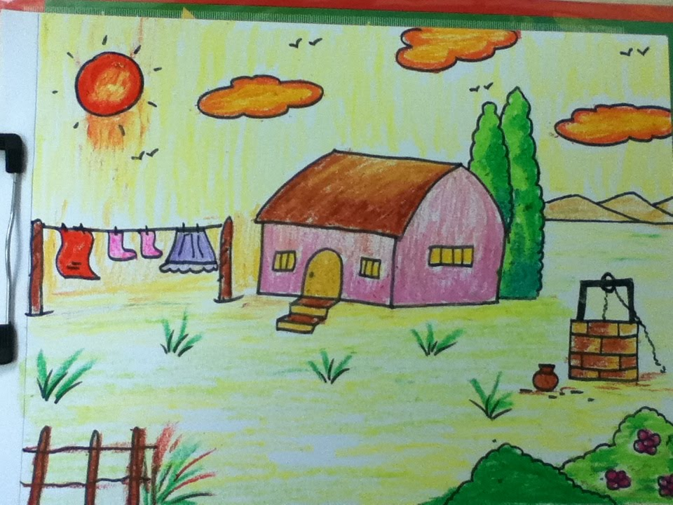 village drawing for kids in simple steps - Kids Simple Drawing