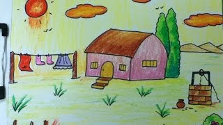 village drawing for kids in simple steps