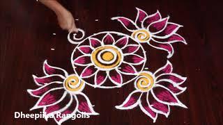 sravana sukravaram muggulu designs with 6 dots * friday lotus kolam * simple rangoli