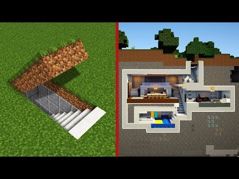 Minecraft: How To Build A Modern Secret Base Tutorial - (Hidden House)