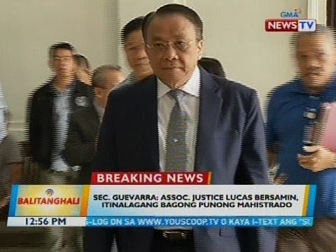 Sec. Guevarra: Assoc. Justice Lucas Bersamin, itinalagang bagong punong mahistrado
