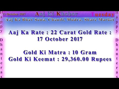 Aaj Ka Rate Gold, Silver, Currency, Share Market 17 October 2017 India Market News in Hindi