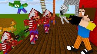 Monster School  HELLO NE GHBOR ZOMB E APOCALYPSE   F ND MAG CAL FLUTE    Minecraft Animation