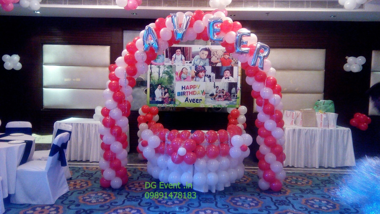 red white balloon decoration for birthday party 09891478183