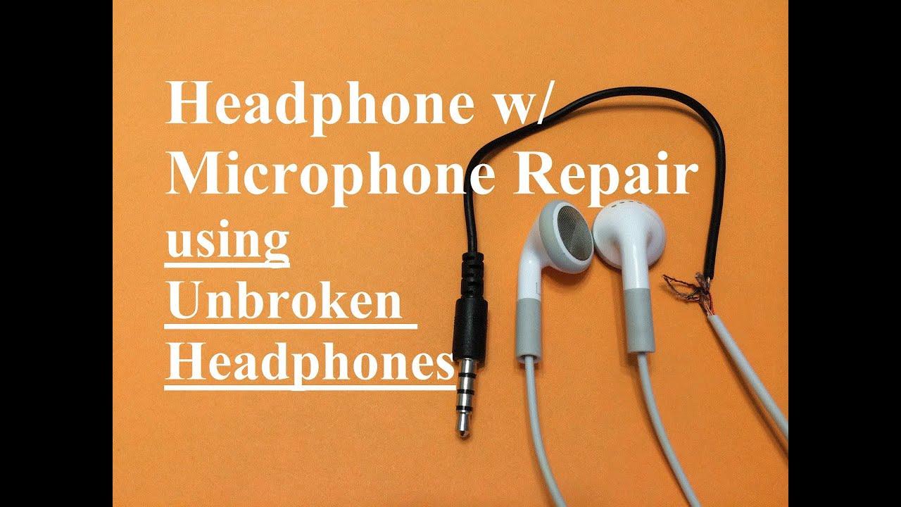 Headphone w Microphone Repair (Unbroken Headphone Set)  YouTube