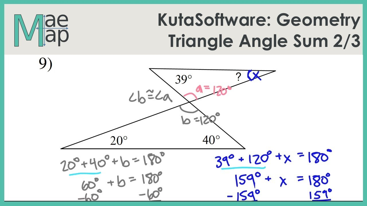 Kutasoftware Geometry Triangle Angle Sum Part 2