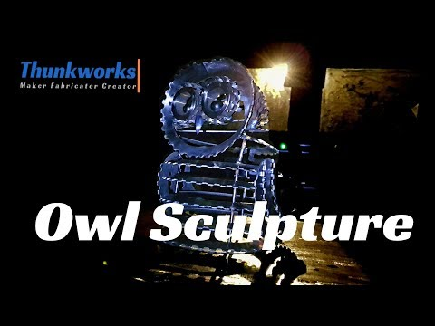 Welded scrap metal Owl Sculpture
