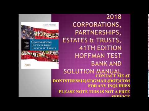 South Western Federal Taxation 2018 Corporations 41th Hoffman Test Bank and Solution Manual