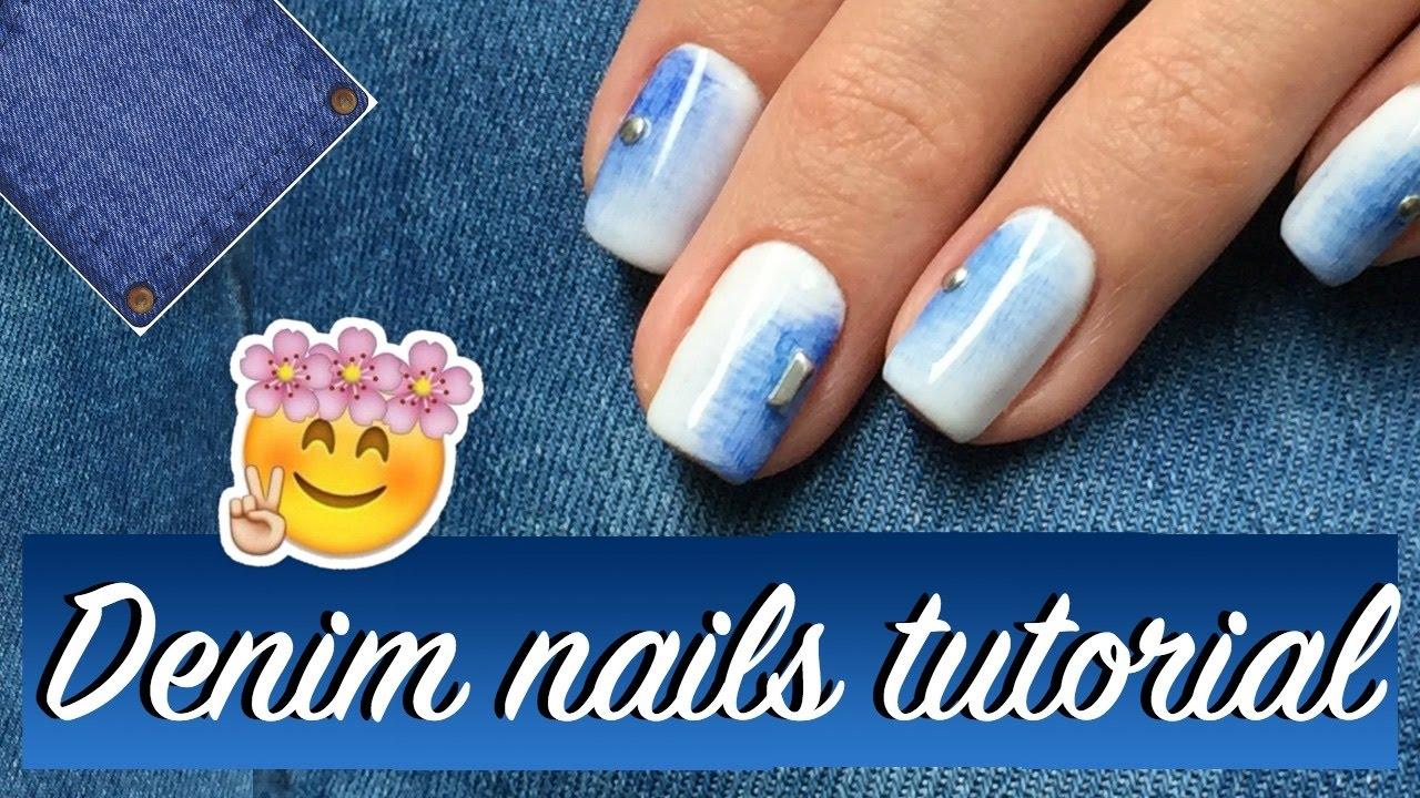 Denim nailart tutorial ♥ Easy nail design for beginners - YouTube